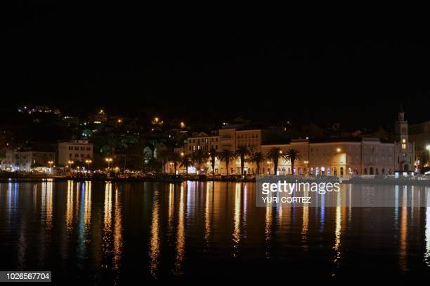 View of the pier next to the complex of Diocleciano Palace in Split Croatia in September 3 2018