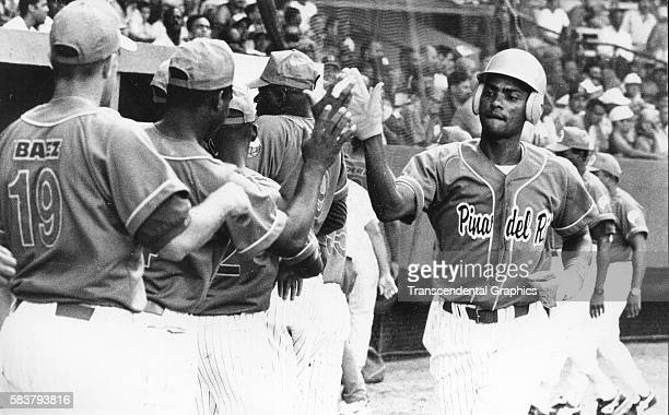 View of the Pinar del Rio baseball teams prior to the Inauguration Series at Estadio Latinoamericano Havana Cuba 1998