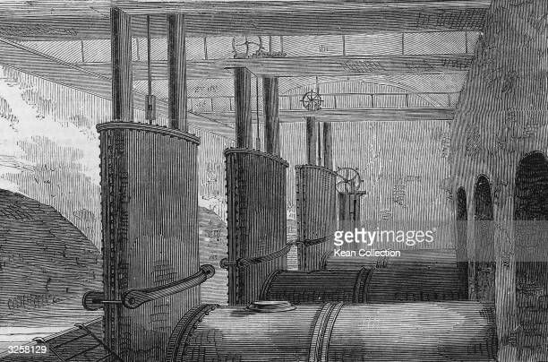 View of the pipe chambers in the Central Park Reservoir, New York, New York, 1862.