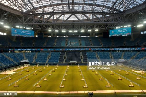 TOPSHOT A view of the pitch and stands of the Saint Petersburg Stadium on February 4 2020 Russia's Saint Petersburg is one of 12 locations across...