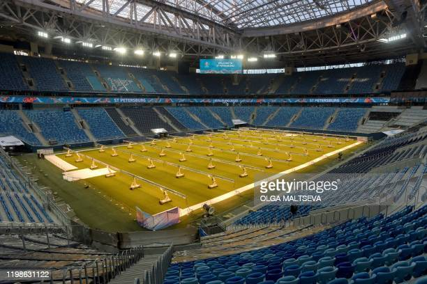 A view of the pitch and stands of the Saint Petersburg Stadium on February 4 2020 Russia's Saint Petersburg is one of 12 locations across Europe...