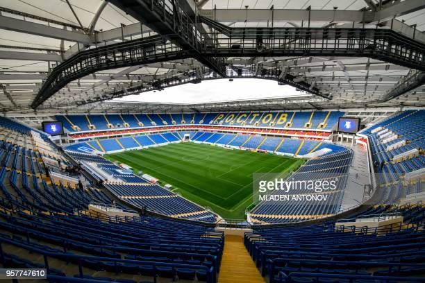 A view of the pitch and the stands of Rostov Arena in RostovonDon on May 12 2018 The nearly 45000seater stadium will host five World Cup matches