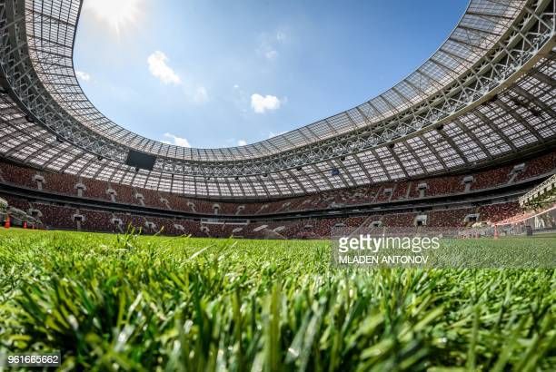 A view of the pitch and the stands of the Luzhniki Stadium in Moscow on May 23 2018 The 80000seater stadium will host seven World Cup matches...