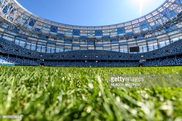 A view of the pitch and the stands of the Nizhny Novgorod Arena in Nizhny Novgorod on May 21 2018 The stadium will host four group matches Round of...