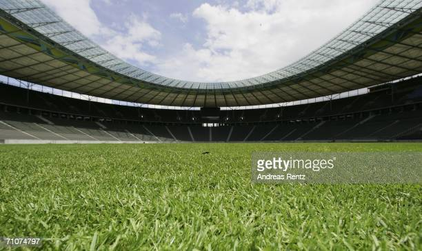 View of the pitch of the Olympic Stadium seen on May 29, 2006 in Berlin, Germany. The World Cup taking place in Germany from June 9 to July 9, 2006....
