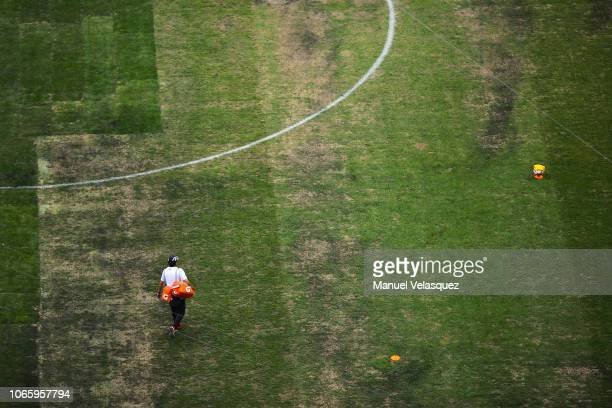 View of the pitch prior to the 16th round match between Cruz Azul and Lobos BUAP as part of Torneo Apertura 2018 Liga MX at Azteca Stadium on...