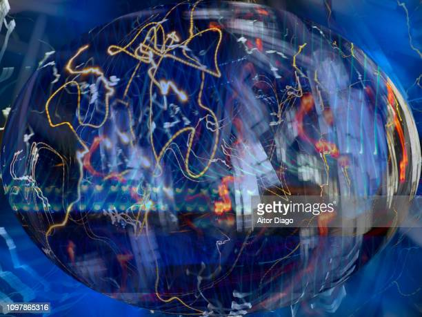 view of the planet earth from space. space junk or electronic waste - mapa mundi stock pictures, royalty-free photos & images