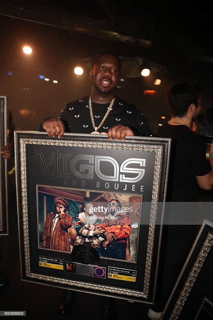A view of the plaque presented to Migos during their performance at Highline Ballroom on January 27, 2017 in New York City.