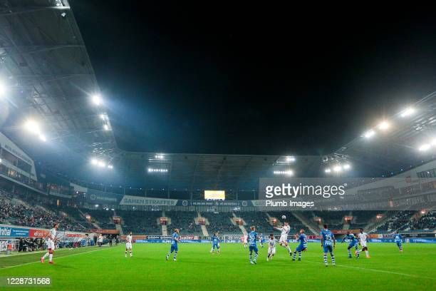 View of the players of OH Leuven and KAA Gent during the Jupiler Pro League match between KAA Gent and OH Leuven at the Ghelamco Arena on September...