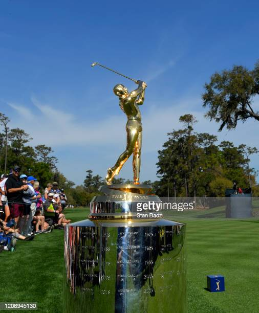 View of the PLAYERS trophy on the first tee during the first round of THE PLAYERS Championship on THE PLAYERS Stadium Course at TPC Sawgrass on March...