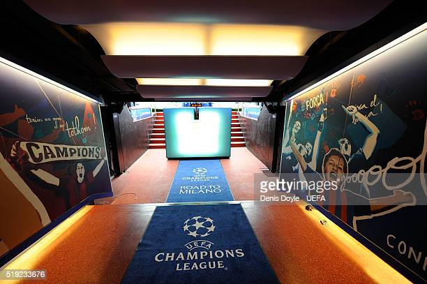 View of the players tunnel ahead of the UEFA Champions League Quarter Final First Leg match between FC Barcelona and Club Atletico de Madrid at Camp...