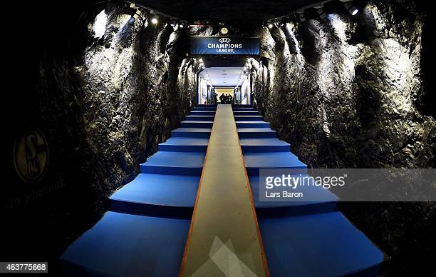 A view of the players tunnel prior to kickoff during the UEFA Champions League Round of 16 match between FC Schalke 04 and Real Madrid at the...