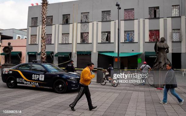 View of the Plaza Garibaldi square in downtown Mexico City on September 15 2018 a day after gunmen dressed as mariachi musicians killed four people...