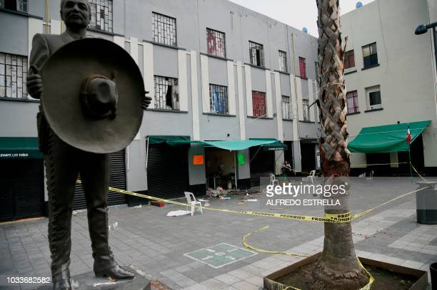 TOPSHOT View of the Plaza Garibaldi square in downtown Mexico City on September 15 2018 a day after gunmen dressed as mariachi musicians killed four...