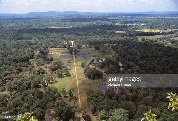 View of the Pleasure Gardens from the Summit of Sigiriya Sri Lanka 20th century Sigiriya is an ancient rock fortress of historic and archaeological...