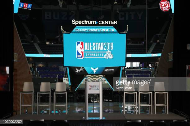 A view of the podium and signage during the 2019 NBA AllStar Press Conference on January 31 2019 at the Spectrum Center in Charlotte North Carolina...