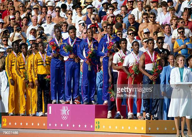 View of the podium with the medal winners of the Men's 4 x 100 metres relay event at the 1984 Summer Olympics with the United States team winning...
