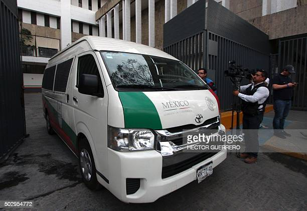 View of the police van carrying US Ethan Couch while heading to the Mexican migration office in Guadalajara City on December 30 2015 Authorities in...