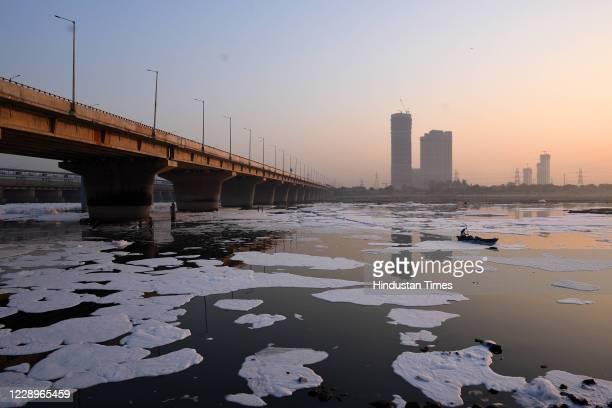 View of the polluted Yamuna River, at Kalindi Kunj on October 8, 2020 in New Delhi, India.