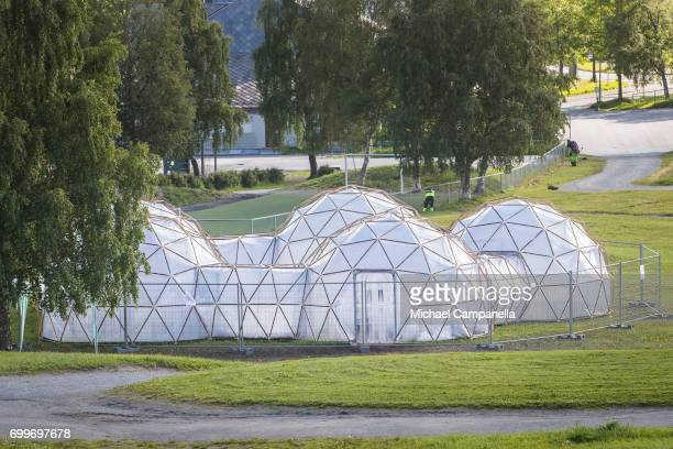 View of the 'Pollution Pods' an art exhibit created by Michael Pinsky for the 2017 Starmus Festival The exhibit consists of six pods that simulate...