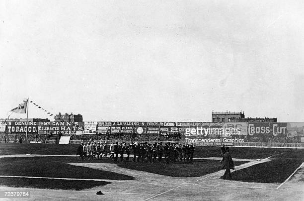 NEW YORK APRIL 1886 A view of the Polo Grounds in New York as opening day ceremonies are in progress in April of 1886