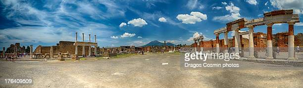 view of the pompei ruins and vesuvius volcano - pompeii stock photos and pictures
