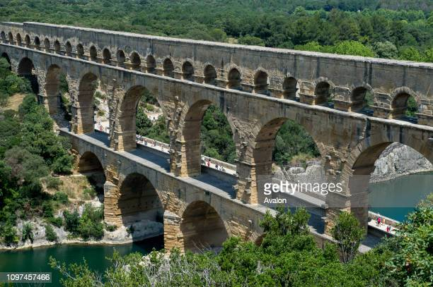 View of the Pont du Gard an ancient Roman aqueduct that crosses the Gardon River near Nimes in the south of France