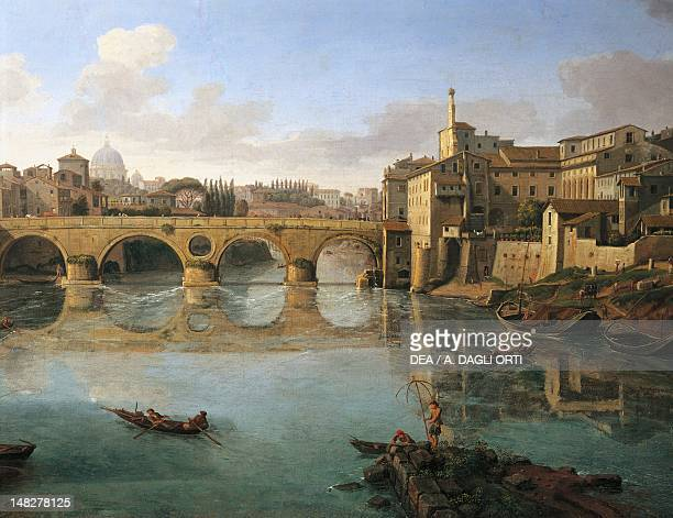 View of the Ponte Sisto by Gaspar van Wittel oil on canvas 47x96 cm Detail Rome Museo Del Palazzo Dei Conservatori