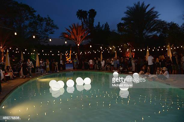 A view of the pool party during the Official HM Loves Coachella Party at the Parker Palm Springs on April 10 2015 in Palm Springs California