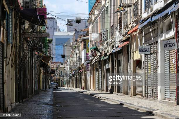 View of the popular shopping streets of downtown Rio de Janeiro Brazil on March 25 completely empty due to the closure decreed by the Government due...