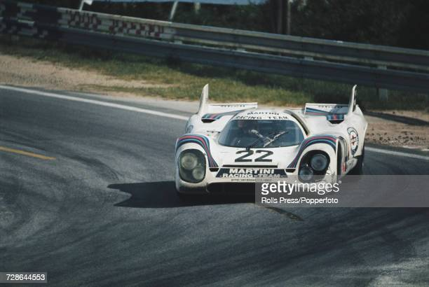 View of the Porsche 917K Porsche 49L Flat12 racing car driven by Helmut Marko of Austria and Gijs van Lennep of Netherlands for the Martini Racing...