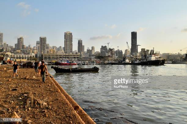 View of the port after the explosion on August 4, 2020 in Beirut, Lebanon. According to the Lebanese Red Cross, at the moment over 100 people died in...