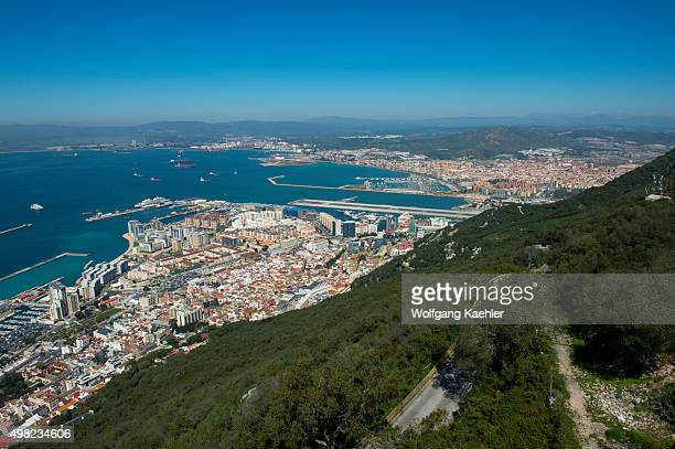 View of the port and Bay of Gibraltar from the observation platform at the top of the Rock of Gibraltar which is a British Overseas Territory located...