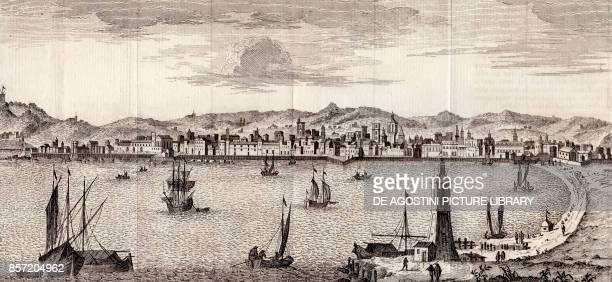 View of the port and the city of Barcelona Catalonia Spain copper engraving ca 33x175 cm from Lo stato presente di tutti i paesi e popoli del mondo...
