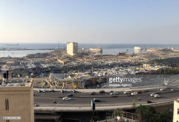 View of the Port of Beirut after a fire at a warehouse with explosives led to massive blasts on 4th August in Beirut, Lebanon on August 13, 2020....