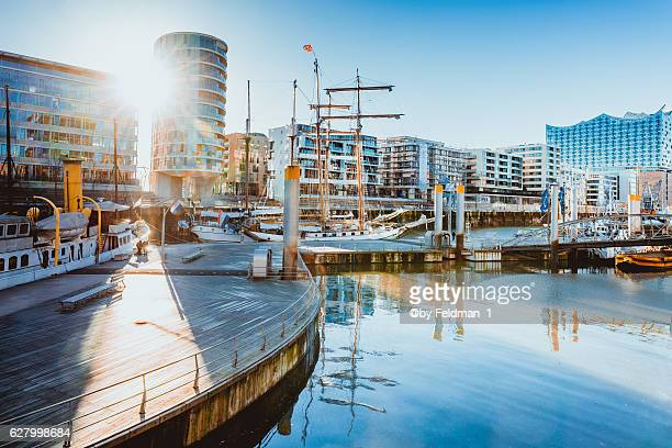 View of the port of Hafencity on a sunny day, Hamburg, Germany