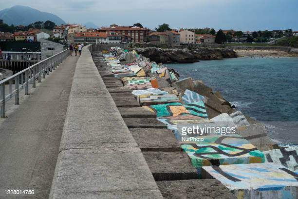 View of the port of Llanes in Asturias, Spain on August 12, 2020.