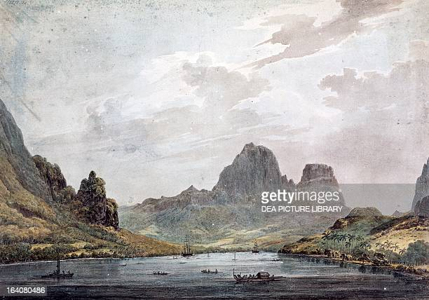 View of the port of Moorea with the Resolution and the Discovery Society Islands October 1777 engraving from a engraving based on a drawing by John...