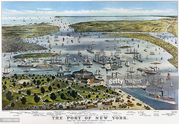 View of the Port of New York Lithograph by Currier Ives United States New York 1878
