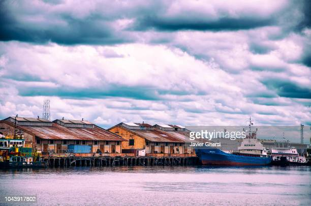 view of the port on a cloudy day, in asunción, paraguay. - paraguay stock pictures, royalty-free photos & images