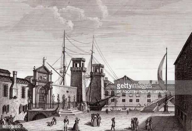 View of the Porta Magna at the Venetian Arsenal, Venice, Veneto, Italy, copper engraving, ca 28.5x19 cm, from Corografia fisica, storica e statistica...