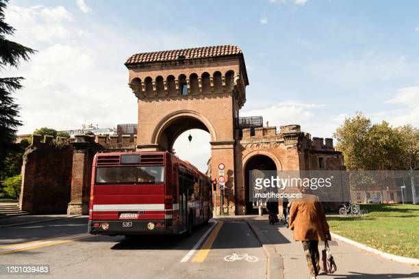 """view of the porta saragozza in bologna, italy. - """"martine doucet"""" or martinedoucet stock pictures, royalty-free photos & images"""