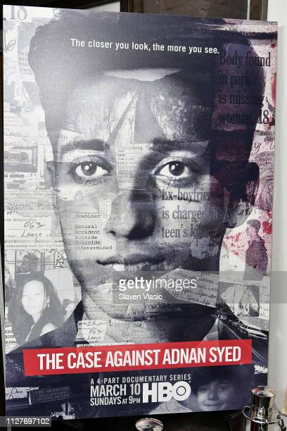 A view of the poster at NY premiere of HBO's The Case Against Adnan Syed at PURE NON FICTION on February 26 2019 in New York City