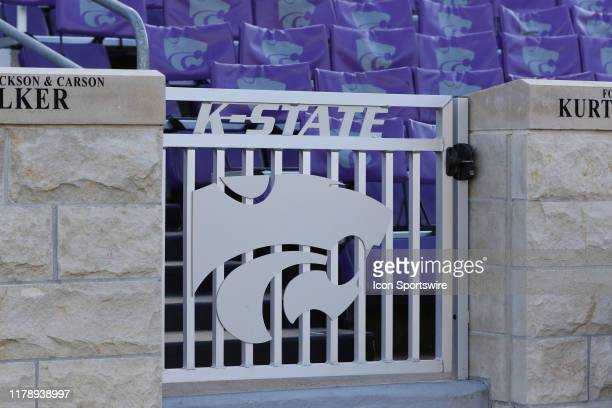 View of the Powercat logo on a gate before a Big 12 football game between the Oklahoma Sooners and Kansas State Wildcats on October 26, 2019 at Bill...