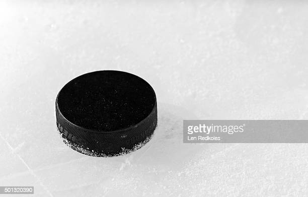 A view of the practice puck following warmups between the Philadelphia Flyers and the New York Islanders on December 8 2015 at the Wells Fargo Center...