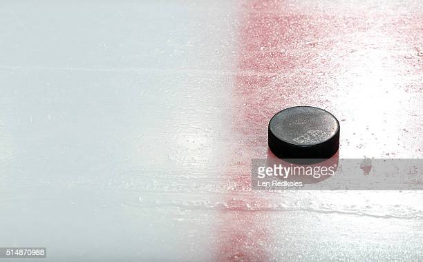 A view of the practice puck on the ice surface during warmups between the Philadelphia Flyers and the Columbus Blue Jackets on March 5 2016 at the...