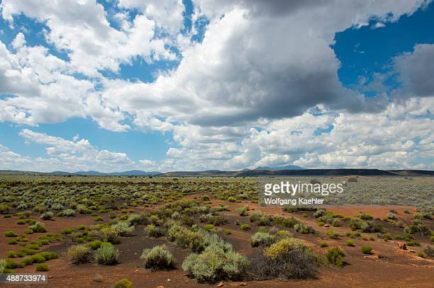 View of the prairie landscape at the Wukoki Pueblo in the Wupatki National Monument Park in northern Arizona, USA, where the Northern Sinagua people...
