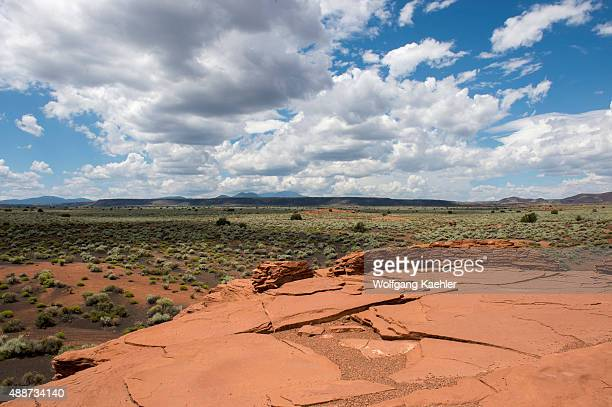 View of the prairie landscape from the Wukoki Pueblo in the Wupatki National Monument Park in northern Arizona, USA, where the Northern Sinagua...