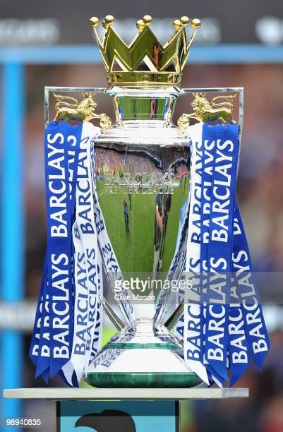 A view of the Premier League trophy after the Barclays Premier League match between Chelsea and Wigan Athletic at Stamford Bridge on May 9 2010 in...