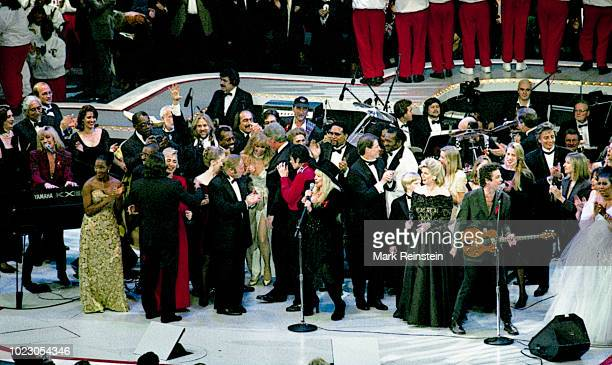View of the Presidential Inaugural gala at the Capitol Center in Landover Maryland January 19 1993 The cast included Michael Jackson Barbra Streisand...